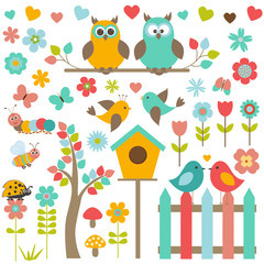 Vector set of nature-themed and birds.