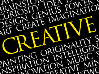 Creative word cloud collage, creative business concept background