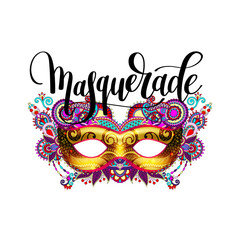 masquerade lettering logo design with mask and hand written word
