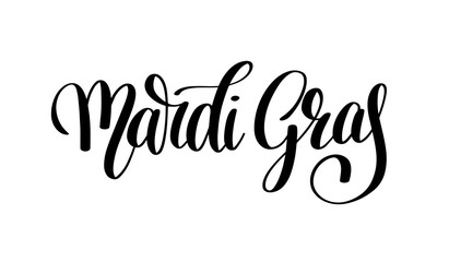 mardi gras black and white calligraphic lettering poster