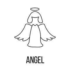 Angel icon or logo line art style.