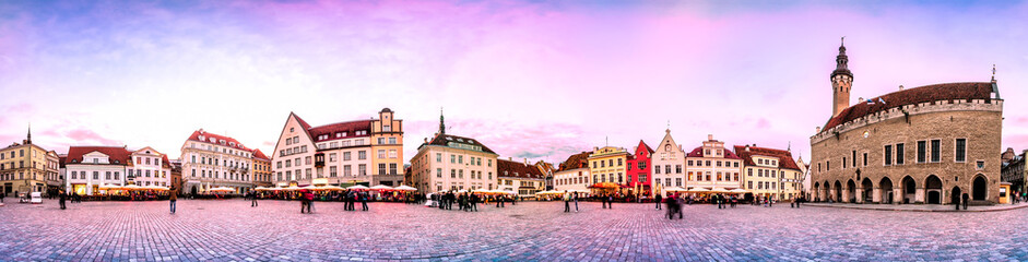 Garden Poster Eastern Europe Sunset Skyline of Tallinn Town Hall Square or Old Market Square, Estonia. Panoramic montage from 24 HDR images
