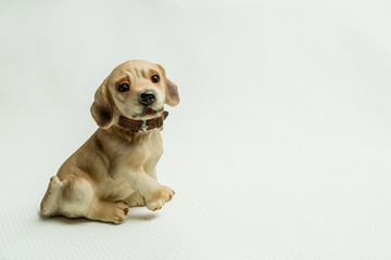 Toy sitting a dog on a light background