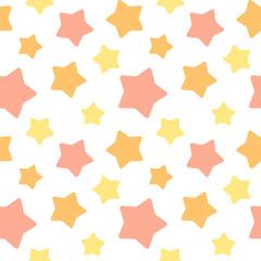 大きめランダム星柄シームレスパターン オレンジ系 白背景・ベクター