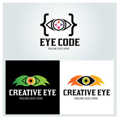 Eye code logo design template ,Creative eye logo design concept ,Vector illustration