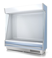 Refrigerated display without shelves. 3d image isolated on white.