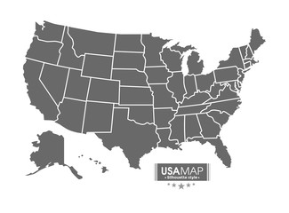 USA map. silhouette style with line border