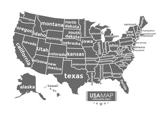 USA map. silhouette style complete with name of states