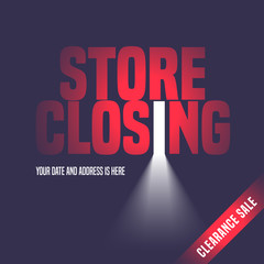 Store closing sale vector illustration, background with open door
