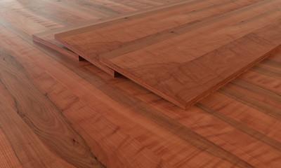 Parquet examples on wooden floor - 3D Rendering
