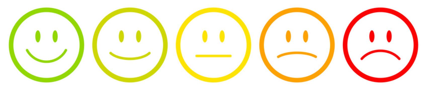 5 Color Faces Outline Feedback/Mood