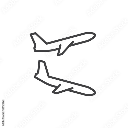 Plane Landing Takeoff Line Icon Outline Vector Sign Linear Pictogram Isolated On White