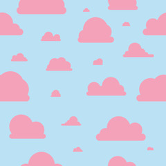 Rosa Wolken - Muster - blau & rosa