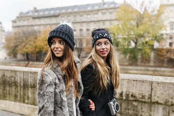 Paris, France, two women strolling near Seine River