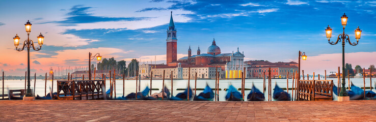 Poster Venice Venice Panorama. Panoramic image of Venice, Italy during sunrise.