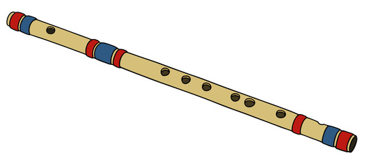 Hand drawing of a bamboo flute