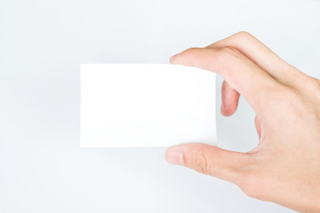 man Hand Hold Business Card - On White Background