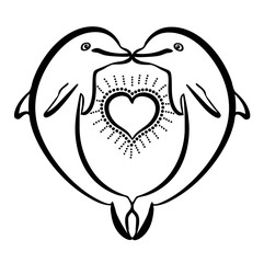 Vector illustration of dolphins in love black and white
