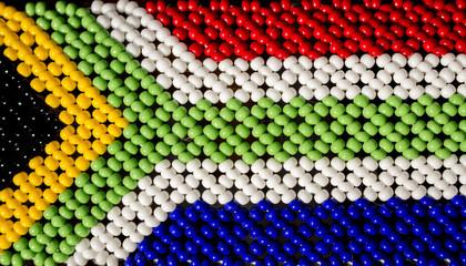 South African beads flag. Tribal modern art.