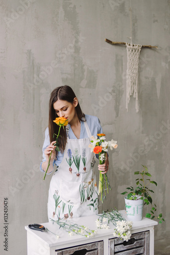 Florist Workspace Young Pretty Caucasian Woman Making Floral