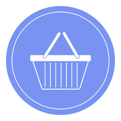 Shopping cart icon, shopping basket with handles design, trolley icon. Blue circle background.
