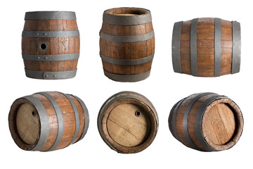 Papiers peints Biere, Cidre six angle wood barrel, cask, isolated on white background with clipping path