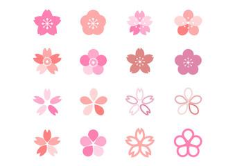 桜 梅 桃 花 アイコン イラスト カラフル