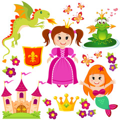 Cute little princess, mermaid, fairytale frog, castle, dragon, crown, shield, flowers and butterflies
