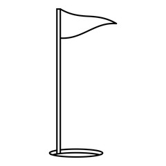 Flags of golf course icon, outline style