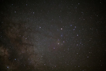 Close - up Milky Way galaxy, Long exposure photograph, with grai