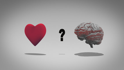 Heart versus head - emotion over logic in a 3D illustration