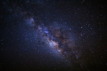 Milky Way Galaxy, Long exposure photograph.with grain