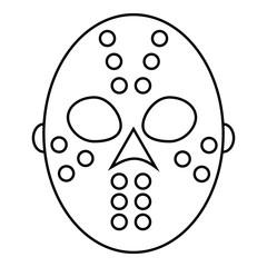 Hockey mask icon, outline style
