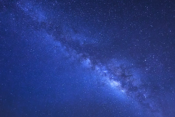Milky Way Galaxy, Long exposure photograph.with grain