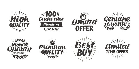 Business set icons or symbols. Hand-drawn beautiful lettering highest quality, premium, limited time offer, guarantee, best buy, genuine. Vector illustration