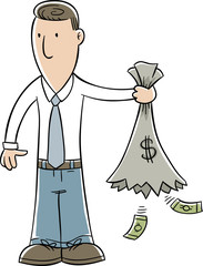 A cartoon businessman holding a torn, empty bag of money with leftover bills falling from the hole.