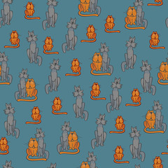Seamless children pattern with cats and dogs. Vector pattern with Pets for baby fabric