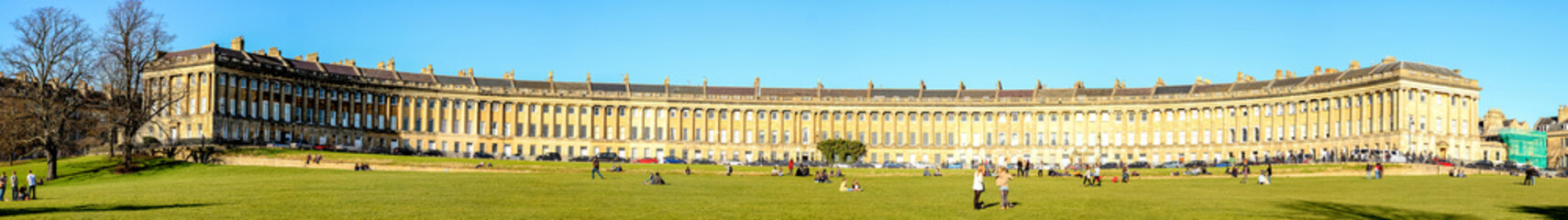 Full panoramic view of The Royal Crescent in Bath city, UK