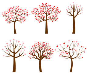 Set of vector trees with red and pink heart shaped leaves