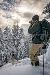 Photographer on skis deep in the back country of Oregon's Mt. Hood National Forest