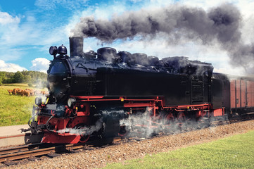 German Steam Train on Rugen in Northern Germany