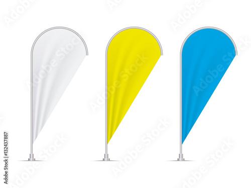 realistic flag mockup  vector teardrop banner