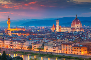Aluminium Prints Florence Florence. Cityscape image of Florence, Italy during dramatic sunset.