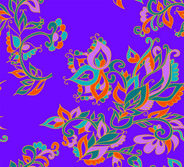 Floral seamless background pattern in oriental style. Indian flowers and leaves. Vector illustration hand drawn.