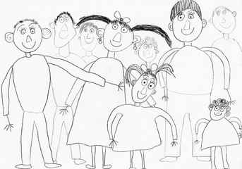 "Children's drawing ""My Family"" (paper, pencil)"