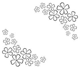 graphic design editable for your design, hand drawn lovely modern geometrical flower patterns in black outline isolated on white background. Vector Illustration.