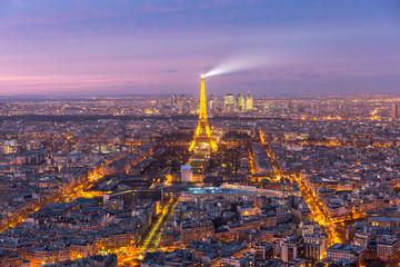 Night aerial panoramic of Paris skyline, France