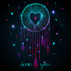 Valentines day design. Vector sparkling dream catcher with heart shape illustration. Native American ancient symbol dreamcatcher, sketch in outlines and magic sparkles