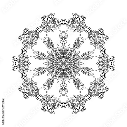 Vector Print Henna Mandala Flower Coloring Page Book White Background