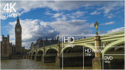 4K resolution display with comparison of resolutions. London, UK